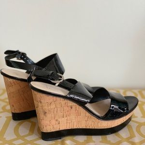 Franco Sarto | Black Patent | Wedge Sandals